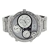Iced Out Silver Tone Watch NY London Mens Stainless Steel Back Simulated Diamonds 3 Timezones Funcition Brand New