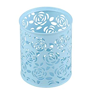 Coolrunner Metal Rose Flower Hollow Pen Pencil Pot Cylinder Container Makeup Cosmetic Brushes Holder Organizer (Light Blue)