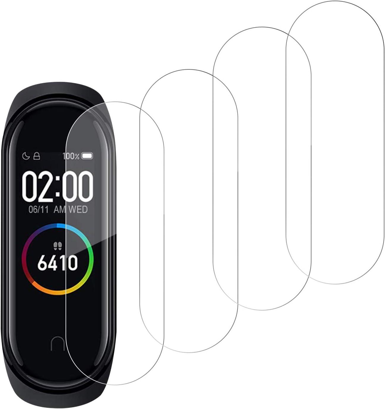 SNUNGPHIR® 4pcs Protector de Pantalla para Xiaomi Mi Band 4 Película Protectora de Alta Definición Anti-Arañazo Ultra Delgado TPU Protector Pantalla para el Reloj Xiaomi Mi Band 4