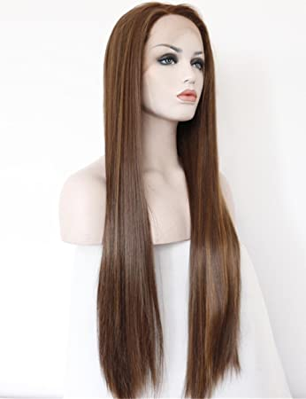 Amazon Com Women S Long Straight Brown Lace Front Wigs For Women
