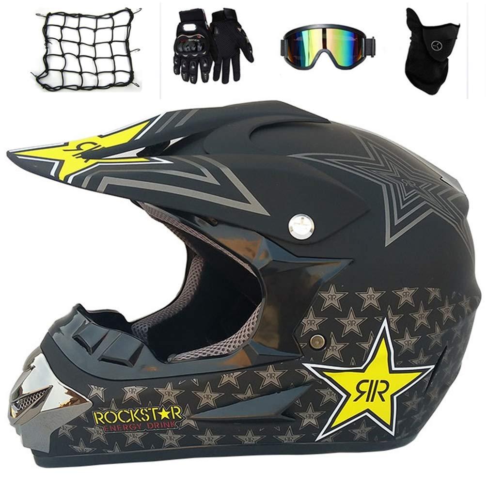 Casco Moto Cross Set per Enduro BMX off Road ATV Downhill MRDEAR Casco Motocross Bambino Nero Opaco//Rockstar Casco MTB Integrale con Occhiali Guanti Mascherina Rete Elastica Moto