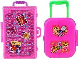 97ab677b106 iraintech 2pcs Cute Pink Miniature Plastic Travel Case Box for Barbie Doll  Decoration Accessory