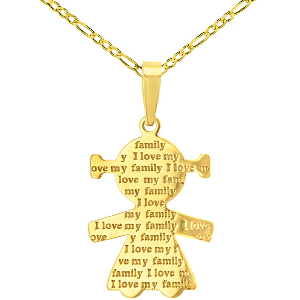14K Yellow Gold Little Girl Charm with I Love My Family Engraved Script Pendant Figaro Chain Necklace, 20''