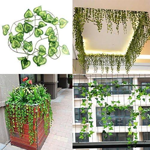 Bluelover 2.3M Artificial Hiedra Corazón Forma Verde Hojas Garland Casa Jardín Decoración