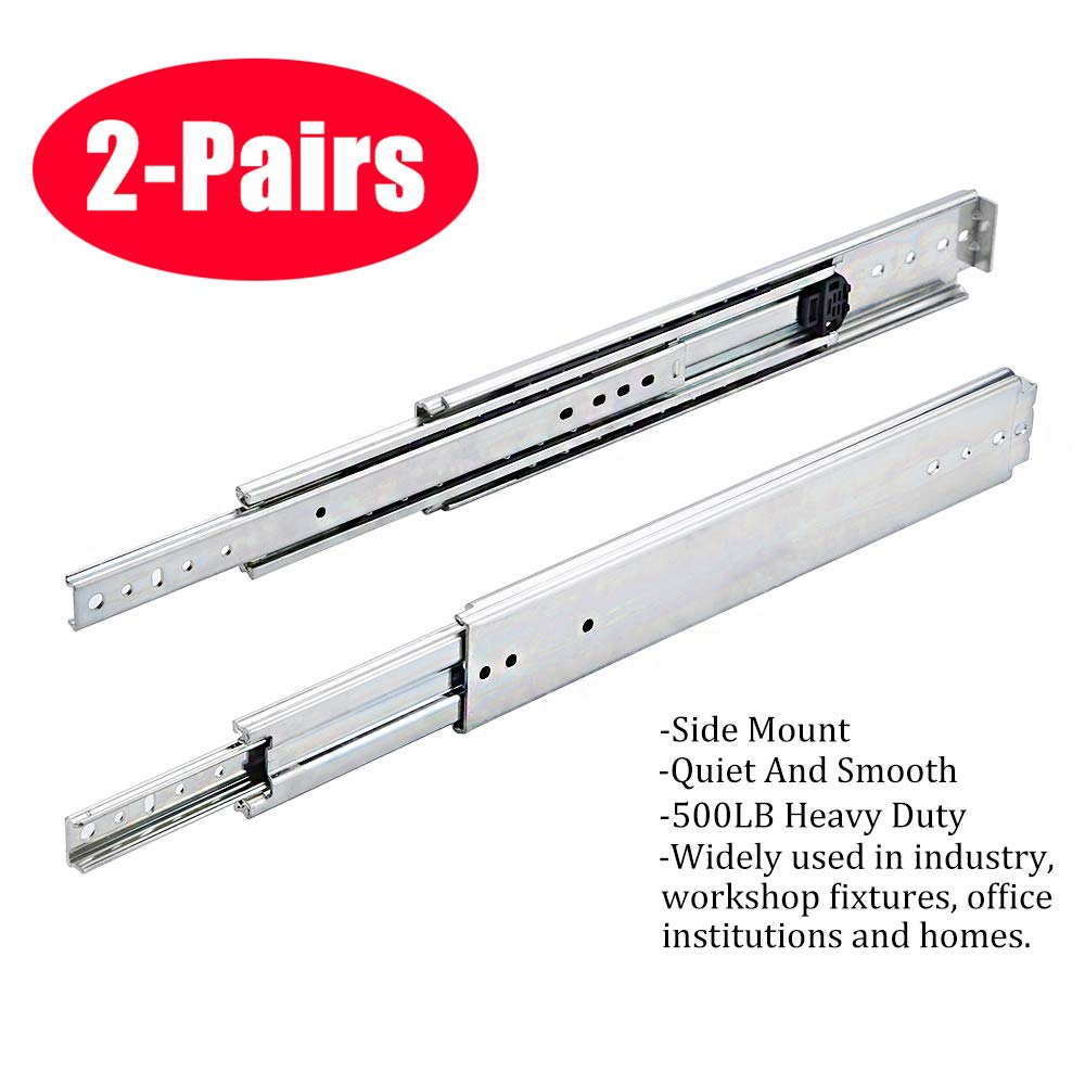 SOTTAE 20 Inch 500LB Capacity Heavy Duty Full Extension Ball Bearing Side  Mount Drawer Slides - 2 Pairs,Mounting Screws Included, Available in 10'',