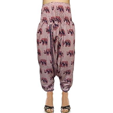 Indin éléphant motif imprimé de coton de taille smockée Sarouel Pantalons  Amazon.fr Vêtements et accessoires
