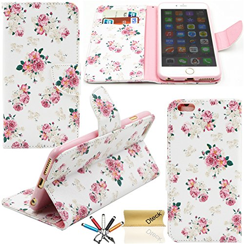 iPhone 6 6S Case, Dteck(TM) Fashion Cartoon Cute Pattern Portable Premium PU Leather Magnetic Closure Folio Flip Stand Case [Card & Money Slots] for Apple iPhone 6 6S 4.7 inches (Flower Floral)