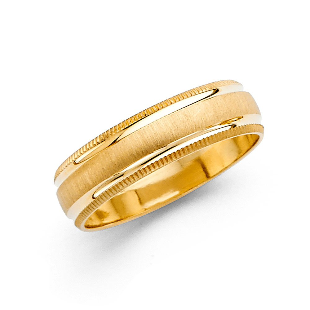 Milgrain Wedding Band Solid 14k Yellow Gold Ring Brushed Finish Diamond Cut Style Mens Fancy 6 mm Size 12
