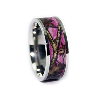 Amazoncom Pink Camo Wedding Rings by 1 CAMO Pink Camouflage