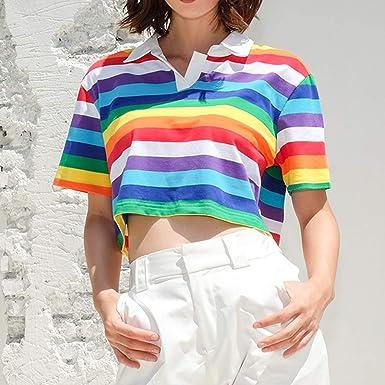 Mujer Casual Camiseta Manga Corta con Estampado de ...
