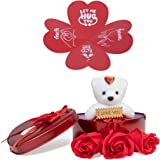 Next Bazaar Heart Shape Box with Teddy, Greeting Card and 3 Pcs Artificial Rose Floral Scented Bath Soap Rose Flower Petals (Red)