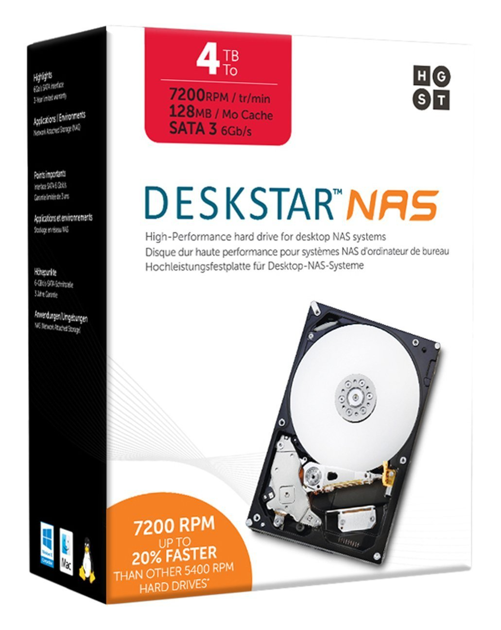 HGST DeskStar NAS 3.5'' 4TB 7200 RPM 128MB Cache SATA 6.0Gb/s High-Performance Hard Drive for Desktop NAS Systems Retail Packaging 0S04005