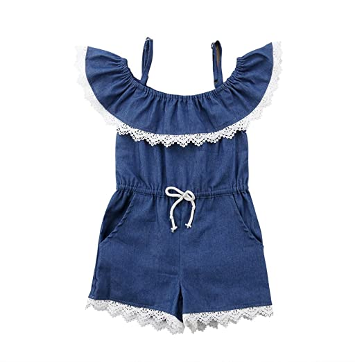 c3e35d9993 Baby Girl Straps Off Shoulder Ruffle Sleeve Denim Romper Shorts Jumpsuit  Bodysuit Overall (2-