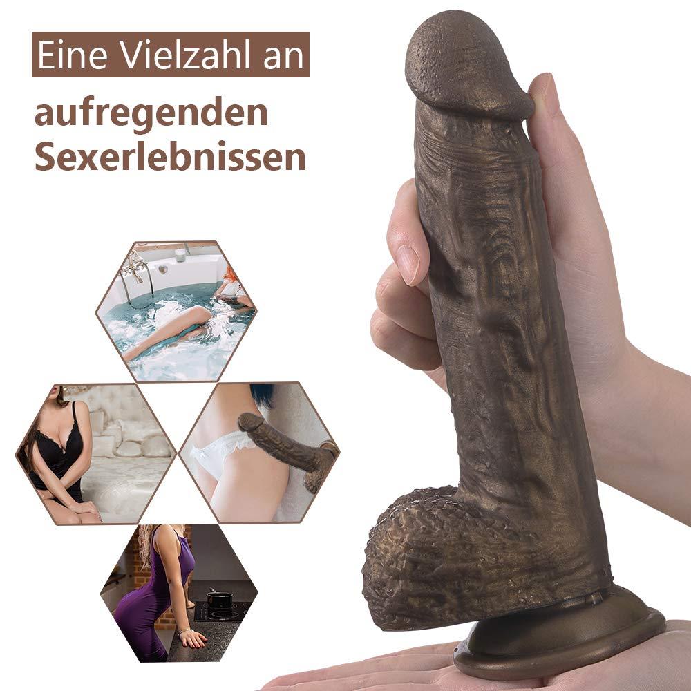 Fondlove Dildo Realistisch Sexspielzeug für Frauen Real Dong Penis Didlo mit Saugnapf Silikon Kupfer Golden Analdildo