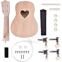 Ukulele DIY Kit Set,21 Inch 4 String Basswood Mahogany Ukulele Kit For Beginners with Unique Design Pattern (Heart)