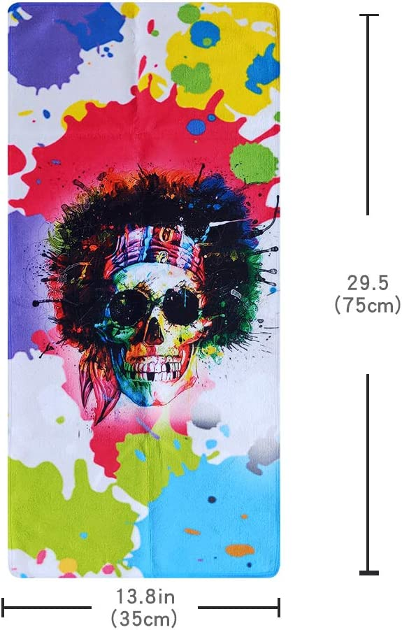 YIYAOO A Punk Skull Towel Soft Highly Absorbent Large Hand Towels 13.8 x 29.5inch Fingertip Towels Bath Towel Multipurpose for Hand Face Bathroom Gym Hotel Spa