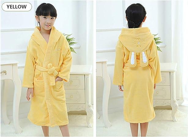 XUMING para Hombre de los niños de Las señoras de Albornoz Bata Bata de baño de Rizo 100% de los Vestidos de algodón con Capucha Batas de Toalla Mujer de los Hombres,Amarillo,6A:
