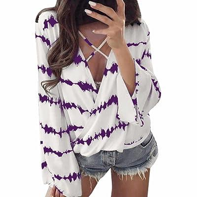Anxinke 2018 New Women Stripe V Neck Chiffon Shirts Casual Long Bell Sleeve Blouse (Purple, 3XL)