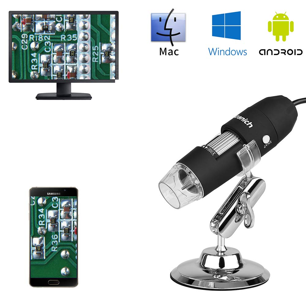1000X USB Microscope Camera Digital Endoscope Magnifier 1080P PC Mac Windows Android 3in1