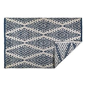 DII Indoor Flatweave Cotton Handloomed Yarn Dyed Woven Reversible Area Rug for Bedroom, Living Room, Kitchen, 2x3' - Diamond Navy Blue