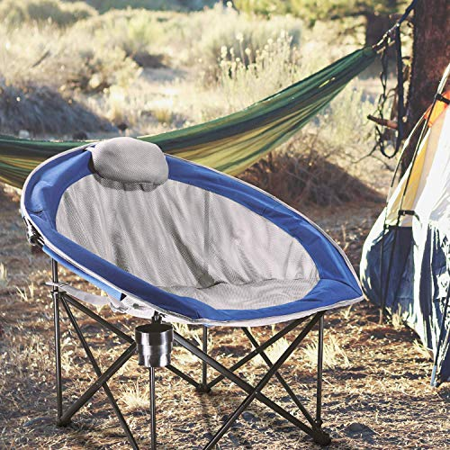LCH Folding Camping Chair Moon Round Saucer Chair - Leisure Oversized Padded Mesh Seat Steel Beach Picnic with Carry Bag