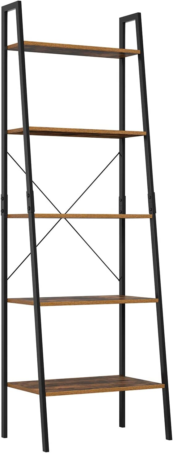 Homfa Ladder Bookshelf Shelving Unit 5 Tier Bookcase Plant Stand Leaning Shelves Storage Rack Metal Frame 56x38.5x171cm
