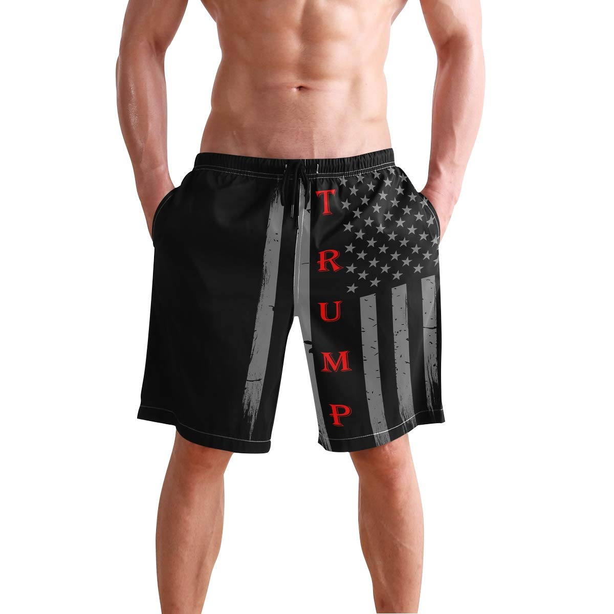 Men Summer Trump Vintage USA Thin Red Line Flag Quick Dry Volleyball Beach Shorts Board Shorts