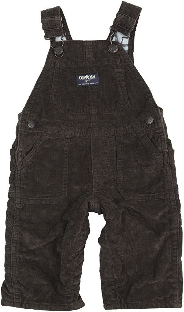 OshKosh B'Gosh Baby Boys Flannel Lined Cord Overalls Mint Plaid 6 Months Carters 11424811
