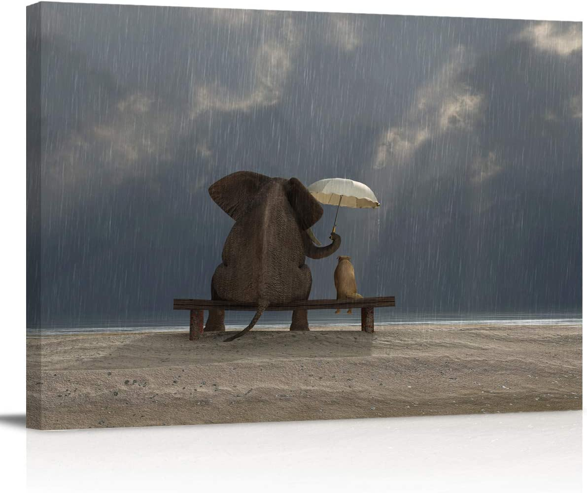 Painting on Canvas Wall Art-Funny Elephant and Dog Sit Under The Rain-Animals Photo Prints Modern Artwork for Bed Bathroom Dining Room Home Decor,Stretched and Framed Ready to Hang,12x16in