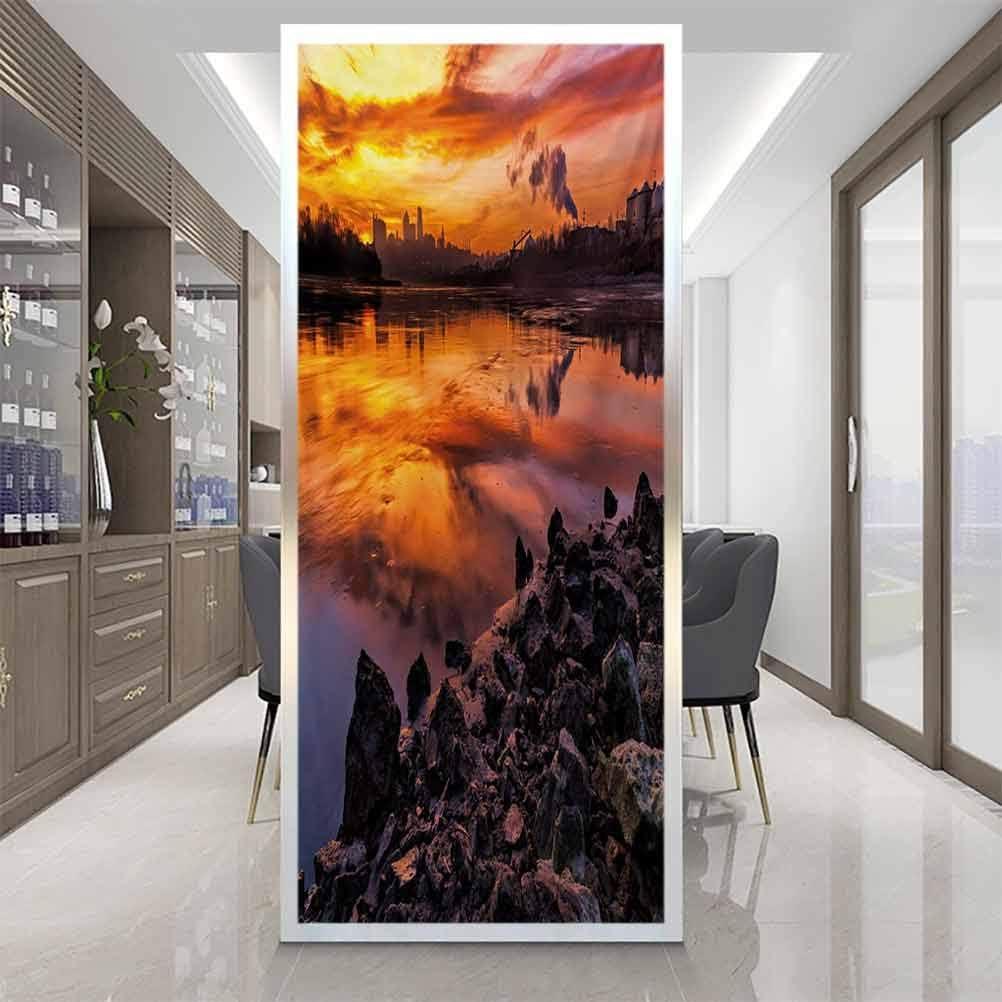 wonderr Self-Adhesive Window Film Window Sticker, Landscape USA Missouri Kansas City Scenery of a Sunset, Easy to Install and Reuse Glass Film, W17.7xH35.4 Inch