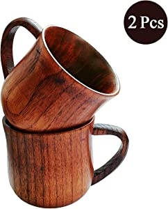 Natural Solid Wooden Tea Cup Set, Elegant Japanese Jujube-Wood Coffee Mug Handcrafted Small Desk Cup With Handle (2 Pcs)