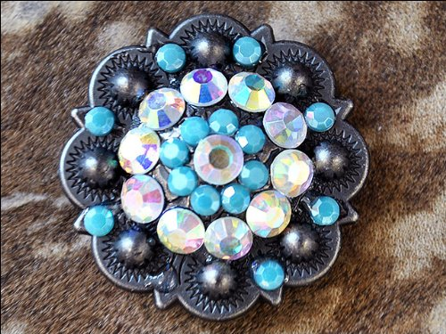 HILASON 1.25 INCH TURQUOISE AB CRYSTAL BERRY CONCHO HEADSTALL SADDLE - Cowgirl Concho