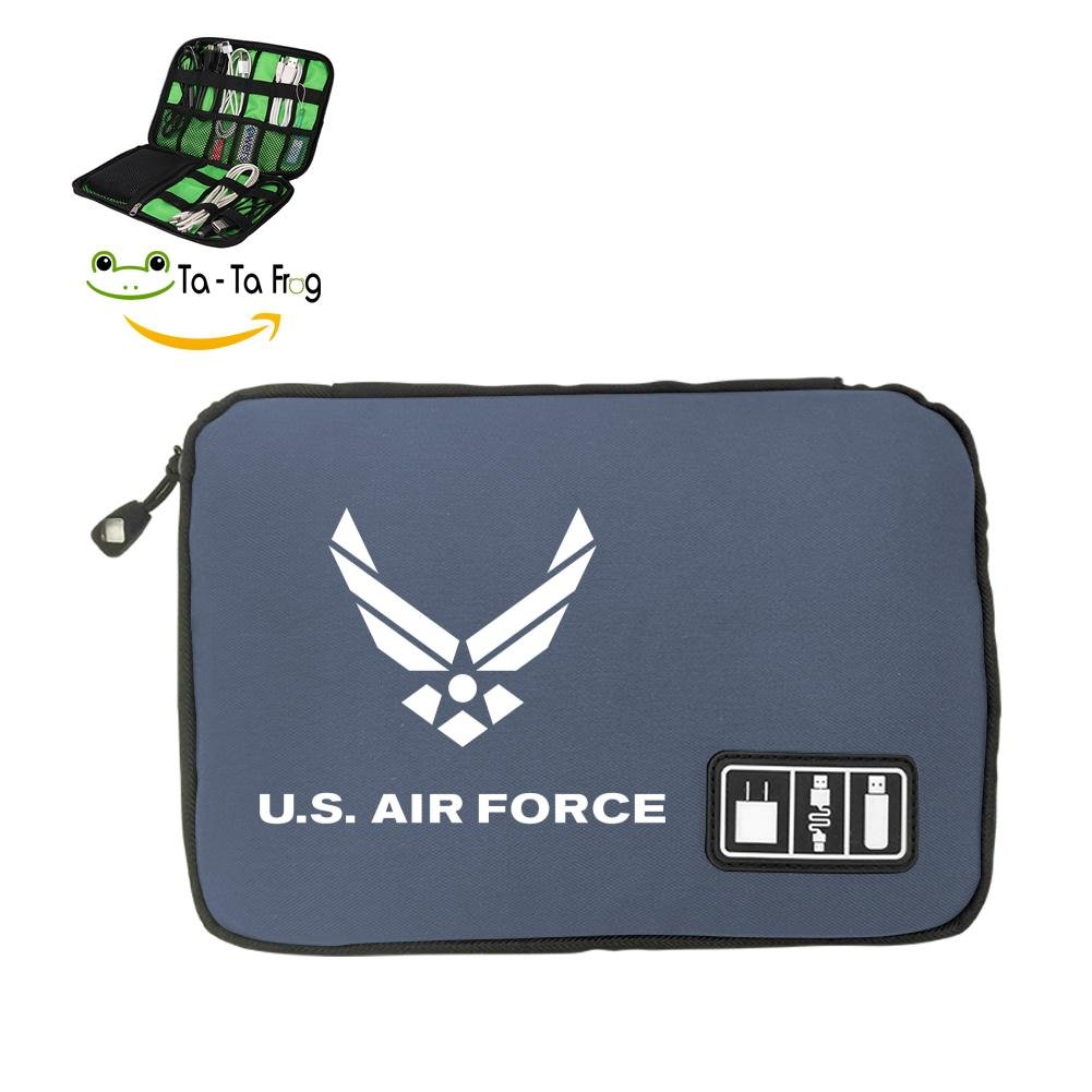 6Dian US AIR FORCE Electronics Cable Organizer Bag for Hard Drives, Cables, Charger Gray