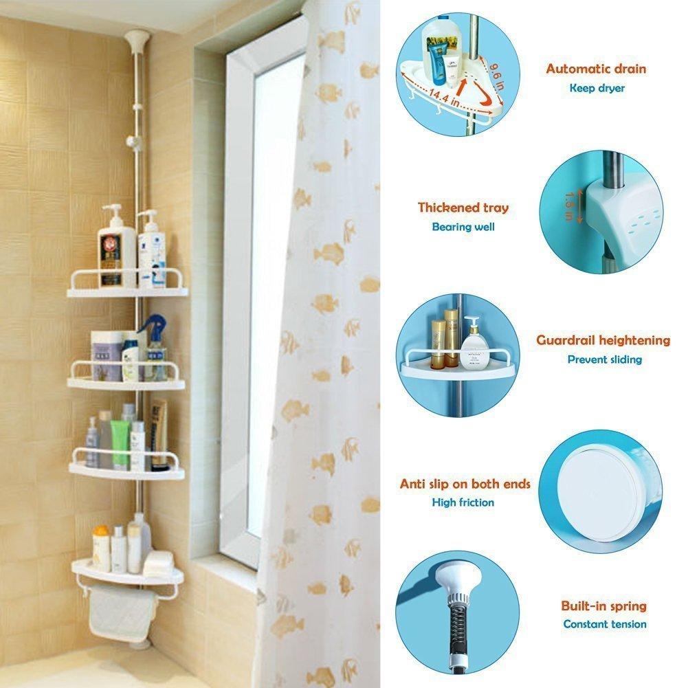 Adjustable Corner Shower Caddy Bathroom Constant Tension Pole ...