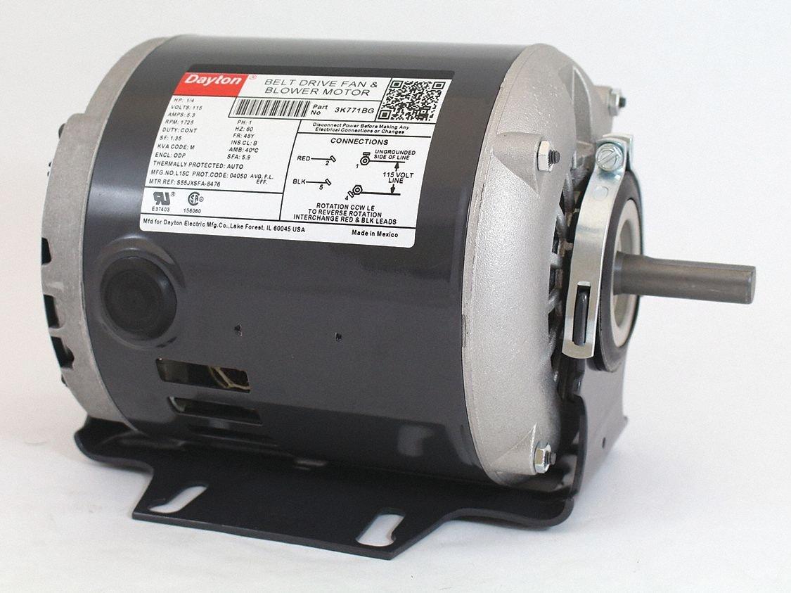 Dayton 1/4 HP Belt Drive Motor, Split-Phase, 1725 Nameplate RPM, 115 Voltage, Frame 48