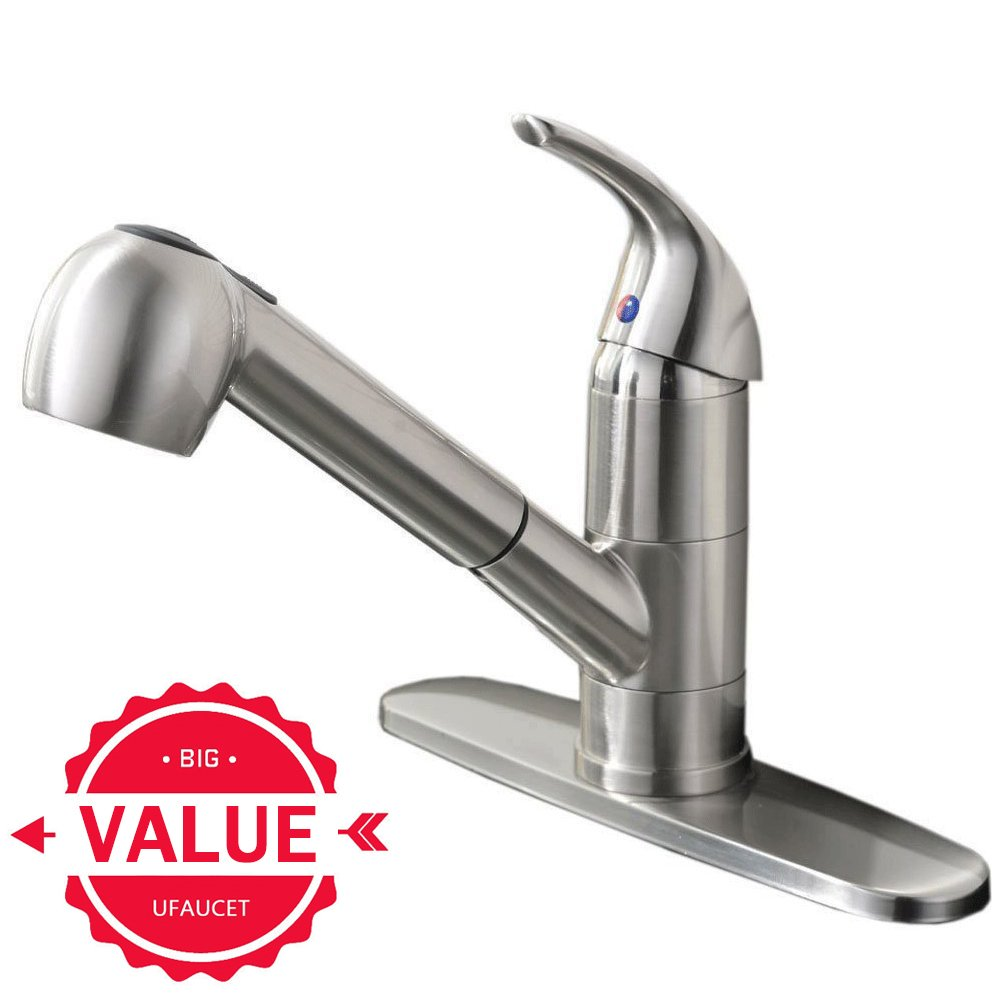 Ufaucet Commercial Stainless Steel Single Lever Single Handle Pull Out  Sprayer Prep Kitchen Sink Faucets,