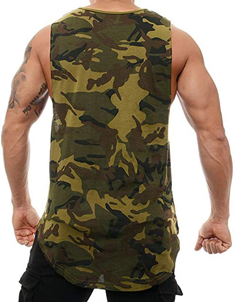 Canserin Mens Camouflage Print Tank Tops Casual Tees Sleeveless T-Shirt Sports Vest