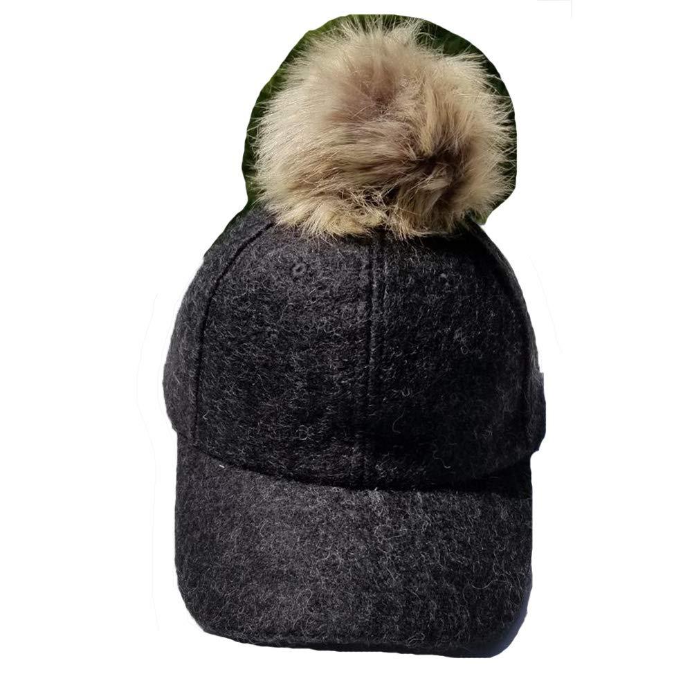 217b7ddd9a7 Hooked on Pickin  Womens Mens Unisex Faux Fox Fur Pom Pom Suede Wool Look  Baseball Hip-Hop Cap Hat Black at Amazon Women s Clothing store