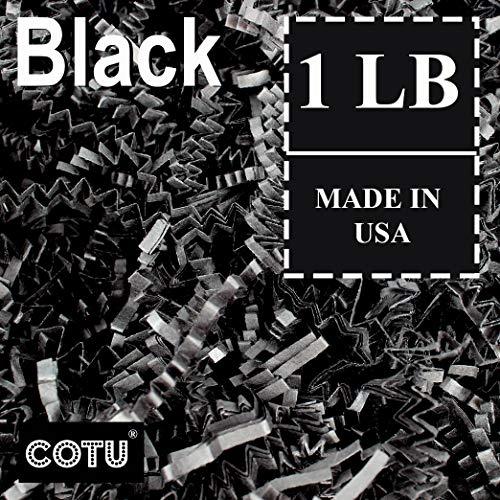 1 LB Black Crinkle Shred Gift Basket Shred Crinkle Paper Filler Bedding by COTU (16 oz) ()