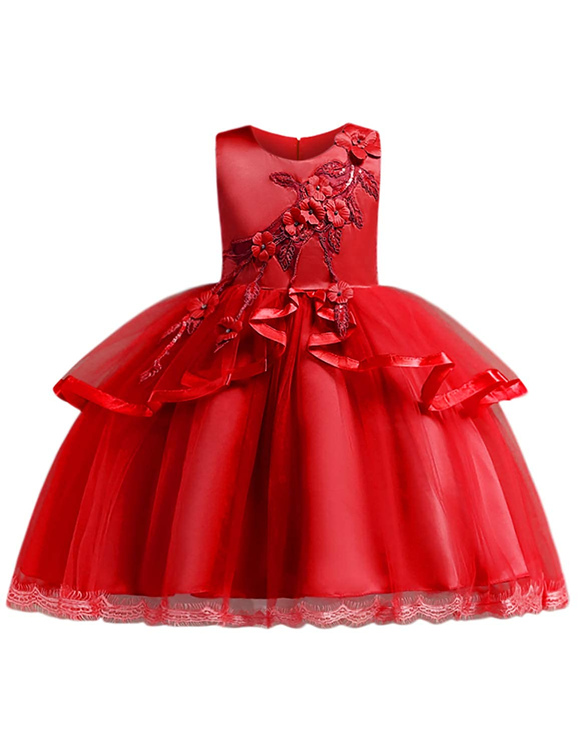 Amazon.com: Blevonh Girls Sleeveless Bridesmaid Ruffles Wedding Dresses Kids Ball Gown: Clothing