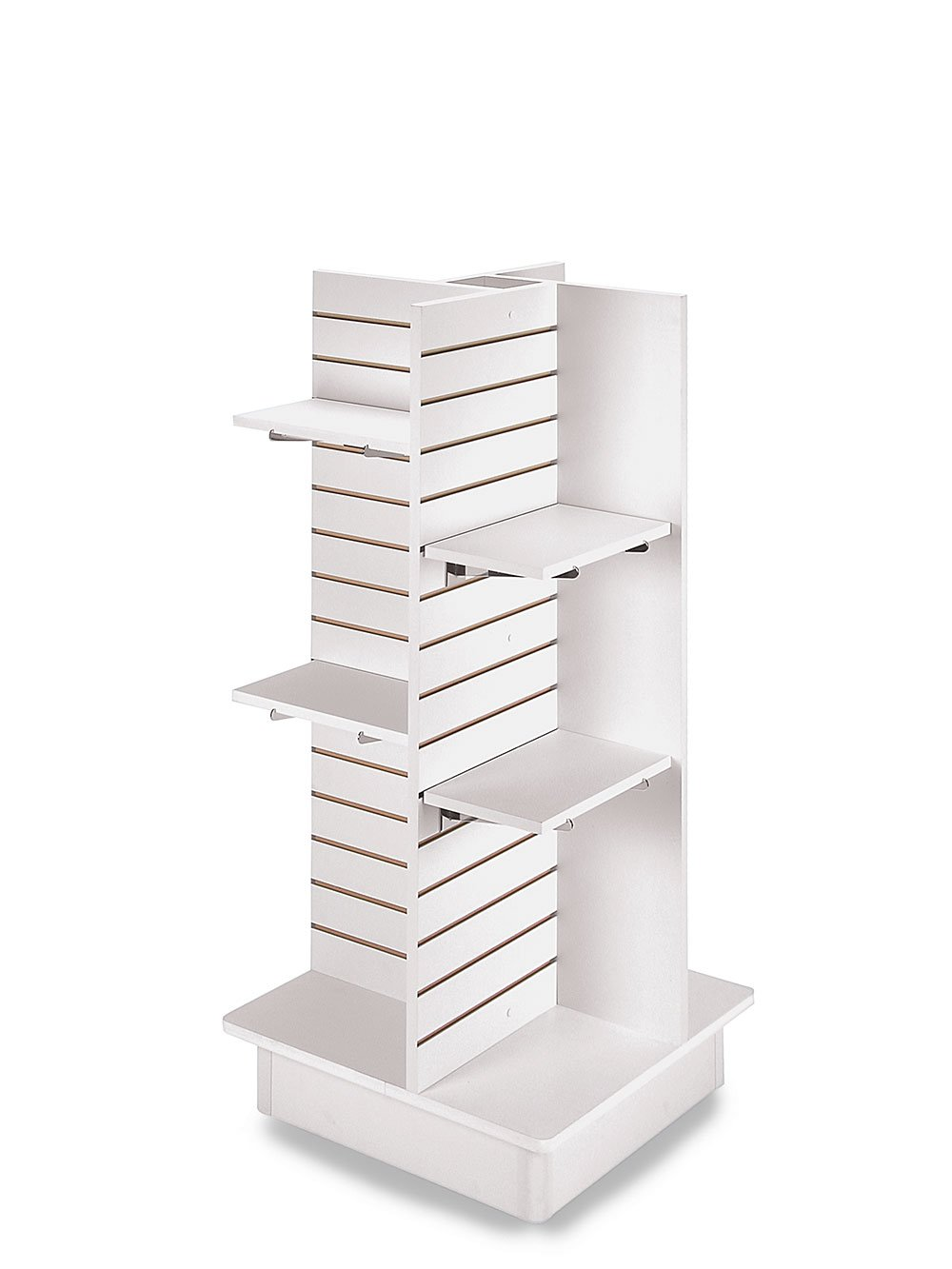 4-Panel White Slatwall Tower with Casters and Shelves (23''L x 23''W x 54''H)