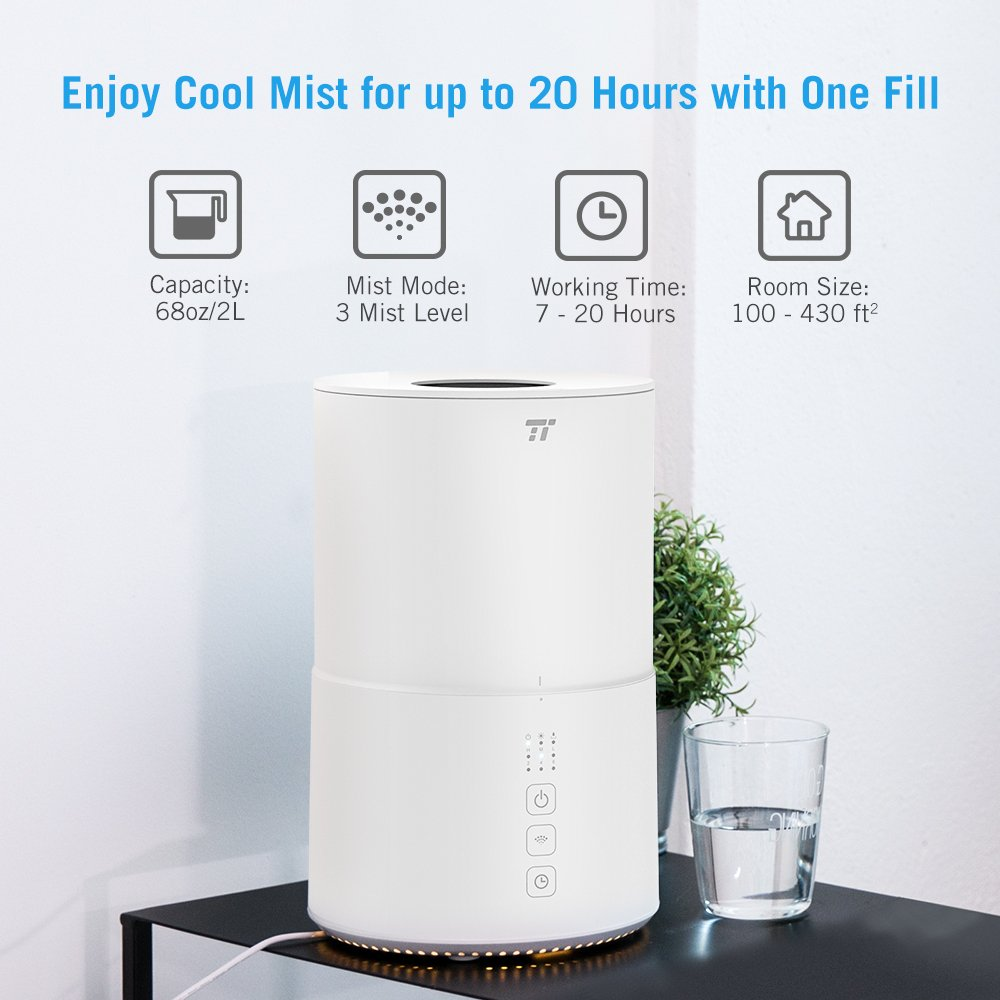 TaoTronics Top Fill Ultrasonic Humidifier, Cool Mist Humidifier & Oil Diffuser Humidifier for Bedroom Baby SPA Yoga with 20H Working Time, No Filter, Waterless Auto Shut Off -(2L/0.53 Gallon, US 110V) by TaoTronics (Image #8)