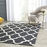 Safavieh Cambridge Collection CAM121X Handcrafted Moroccan Geometric Dark Grey and Ivory Premium Wool Area Rug (5' x 8')