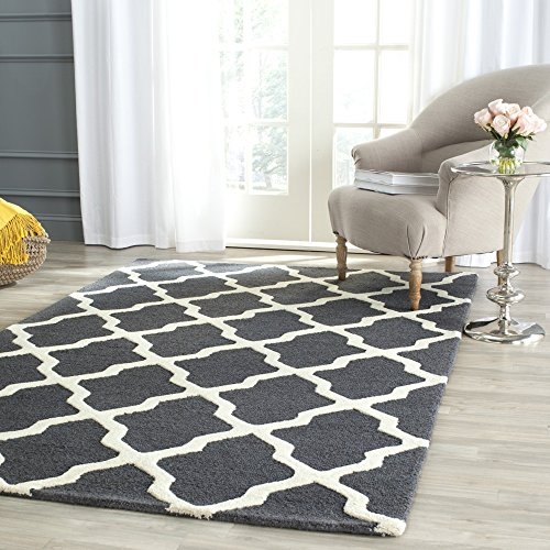 Safavieh Cambridge Collection CAM121X Handcrafted Moroccan Geometric Dark Grey and Ivory Premium Wool Area Rug (5' x 8') by Safavieh