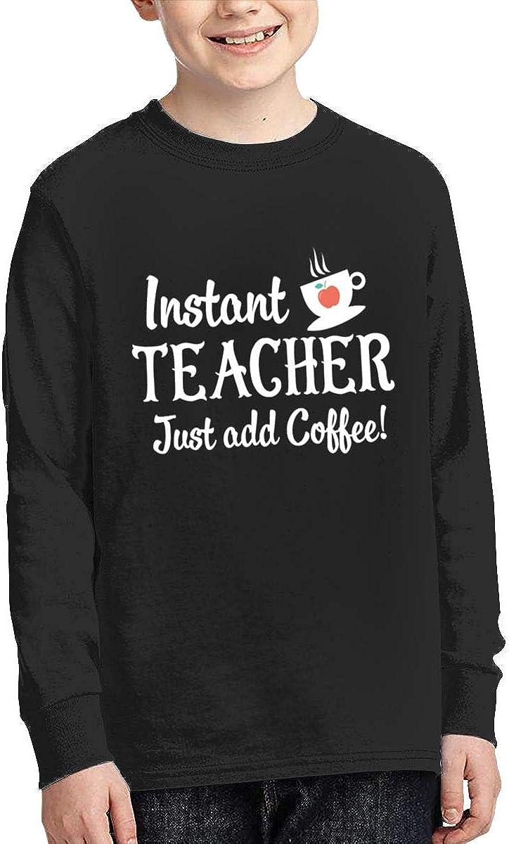 Qiop Nee Instant Teacher Just Add Coffee Long Sleeves Shirt for Girls