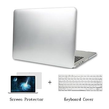 Batianda Plástico Funda Dura Carcasa para MacBook Pro 13 pulgadas con CD-Rom & Cubierta del Teclado & Protector de Pantalla,Plata