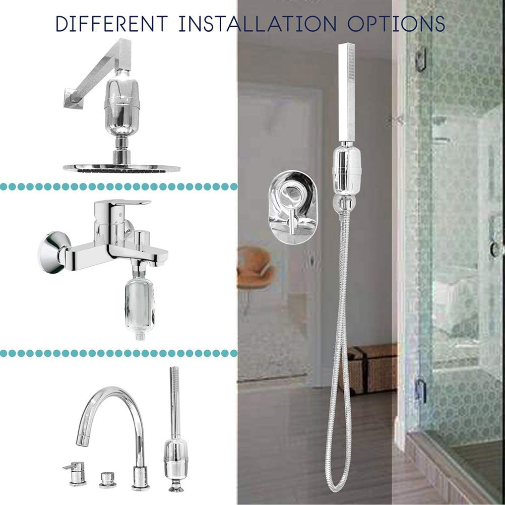 TOPABTHY Universal Shower Water Filter Water Purifier Shower Faucet Residual Chlorine Filter for Bathroom Silver