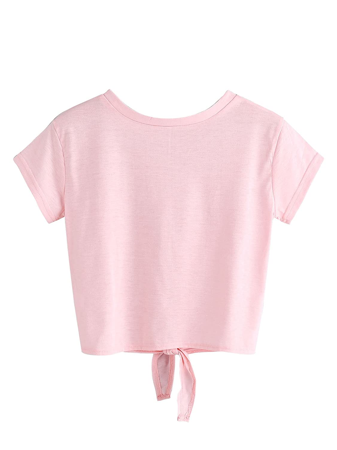 7d6841f370c91d MAKEMECHIC Women s Summer Crop Top Solid Short Sleeve Tie Front T-Shirt Top  at Amazon Women s Clothing store