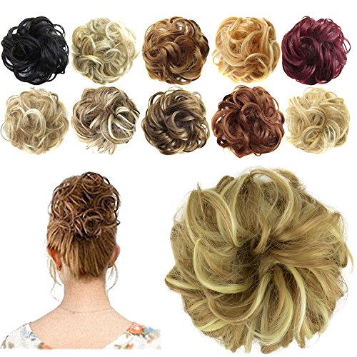 (FESHFEN Synthetic Hair Bun Extensions Messy Hair Scrunchies Hair Pieces for Women Hair Donut Updo Ponytail)