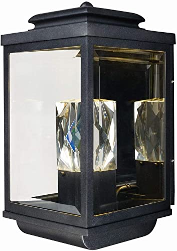 Maxim 53526CLGBK Mandeville Crystal LED Outdoor Wall Sconce, 2-Light 17 Total Watts, 18 H x 9 W, Galaxy Black